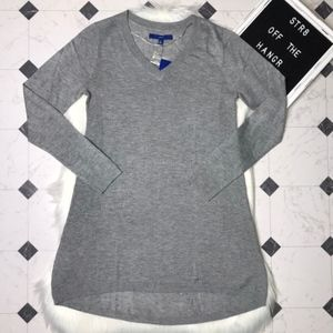 NWT Apt. 9 gray v-neck high low sweater size Small